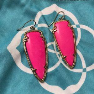Kendra Scott Neon Pink Skylar Arrowhead earrings